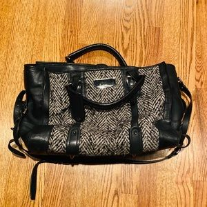 Barbara Bui Tweed Wool Leather Leon HandbagSatchel